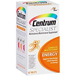 Centrum Specialist Energy Complete Multivitamin / Multimineral Supplement Tablet, Vitamin D3 and Vitamin C (60 Count)