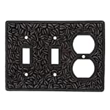 Vicenza Designs WP7015 San Michele Wall Plate with Double Toggle and Outlet Opening, Oil-Rubbed Bronze