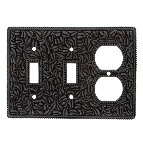 Vicenza Designs WP7015 San Michele Wall Plate with Double Toggle and Outlet Opening, Oil-Rubbed Bronze by Vicenza Designs
