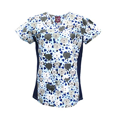 Divine Scrubs Women's Medical Nursing Stretch Top Patterned Multi Pocket Uniform Shirt (Puppies and Kittens, Medium)