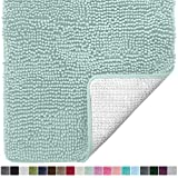 Gorilla Grip Original Luxury Chenille Bathroom Rug Mat (30 x 20), Extra Soft and Absorbent Shaggy Rugs, Machine Wash/Dry, Perfect Plush Carpet Mats for Tub, Shower, and Bath Room (Spa Blue)