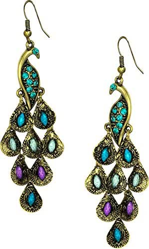 Gold Tone Vintage Peacock Blue Epoxy Crystal Feather Dangle Statement Earrings, 2.25