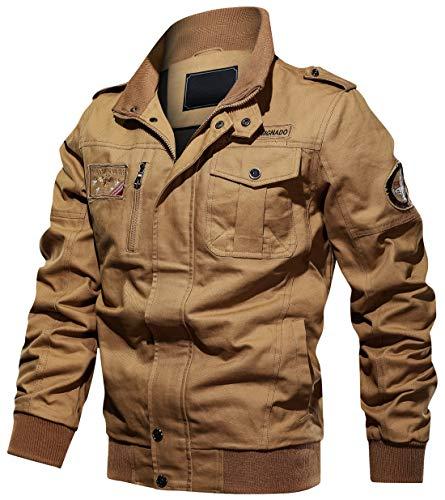 chouyatou Men's Casual Long Sleeve Zip Lightweight Military Flight Cotton Bomber Jacket (Large, Khaki)