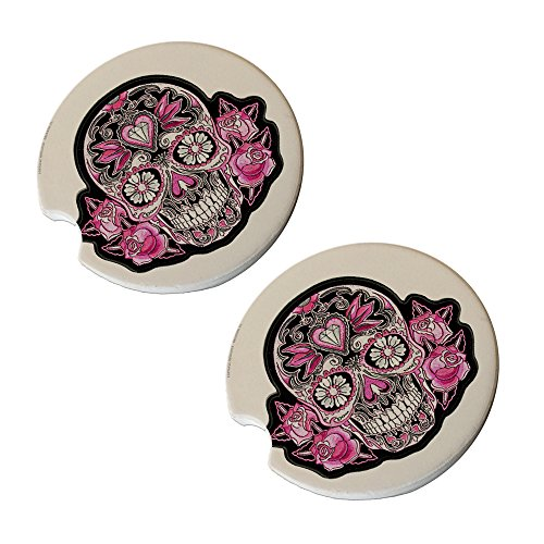 (Sugar Skull Car Coasters - Round Sandstone Car Coaster Set)