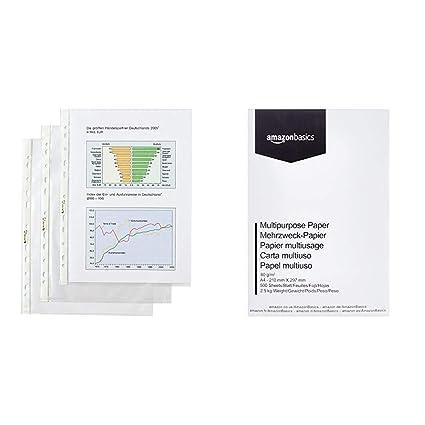 Hetzel 22457490 - Fundas perforadas transparentes (DIN A4, 100 unidades, polipropileno) & AmazonBasics Papel multiusos para impresora A4 80gsm, 1 ...