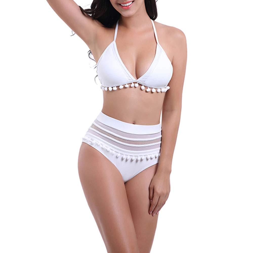 IEUUMLER Women High Waisted Bikini Set Lace Up 2 Piece Tassel Trim Top Halter Straps Swimsuit IE101