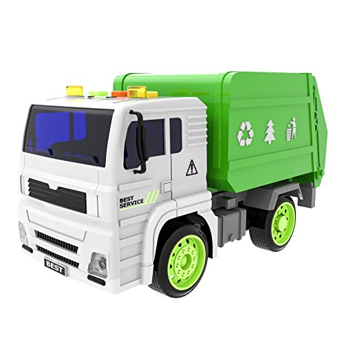 Garbage Truck Toy Recycle Truck Friction Powered for Boys and Girls Purifier with Light and Sound, 4 Wheels, 1:20 Advanced Simulation Model-City Sanitation Series, Green and White