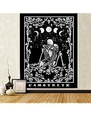 """Dremisland Skull Tapestry Kissing Lovers Tapestry Skeleton Tapestry Romantic Black and White Tapestry for Dorm Living Room Decor (M:51""""W x 59""""H, Skull Kissing Lover)"""
