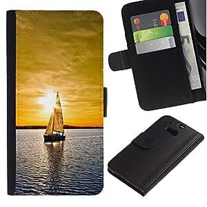 Billetera de Cuero Caso del tirón Titular de la tarjeta Carcasa Funda del zurriago para HTC One M8 / Business Style Sunset Sailing Boat Sea