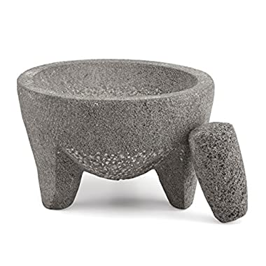 The Mexican Kitchen by Rick Bayless  4 Cup Molcajete Mortar and Pestle, Grey/White