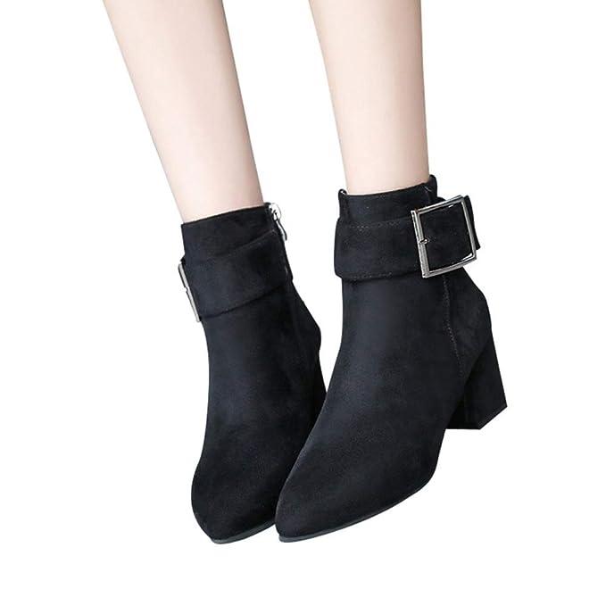 0d7dca5dd0e Amazon.com: Women Winter Snow Boots Heeled Shoes Buckle Strap ...
