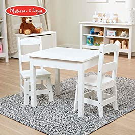 Melissa & Doug Solid Wood Table & Chairs (Sturdy Wooden Construction, 100-Pound Capacity, Easy to Assemble, 3-Piece Set, 20″ W x 23.5″ H x 20.5″ L)