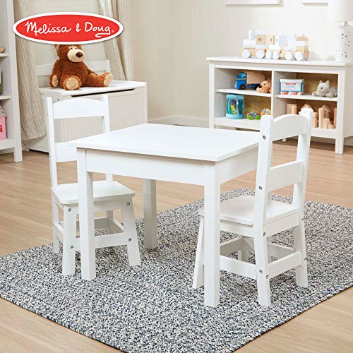 Melissa & Doug Solid Wood Table & Chairs (Sturdy Wooden Construction, 100-Pound Capacity, Easy to Assemble, 3-Piece Set, 20