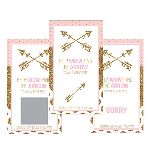 Set of 12 Scratch Off Game Cards for Baby Shower Games in Pink and Gold Glitter SC315