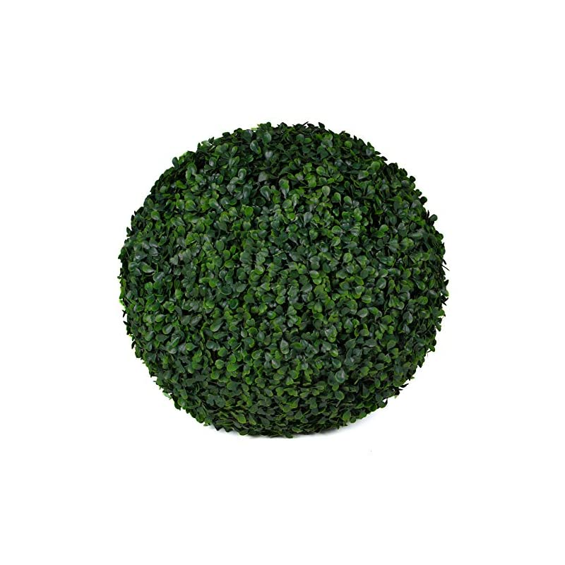 """silk flower arrangements 3rd street inn boxwood topiary ball - 15"""" artificial topiary plant - wedding decor - indoor/outdoor artificial plant ball - topiary tree substitute (1, boxwood)"""