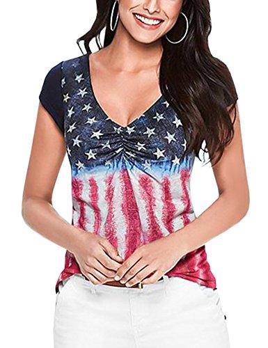 Perfashion Women's American Flag T-Shirt 4th July Patriotic Short Sleeve Tops (July Womens V-neck T-shirt)