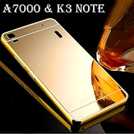 sale retailer 619ec 0e959 Aluminum Metal Frame Bumper Mirror Acrylic Back Case For Lenovo A7000 ,K3  Note ( Gold )