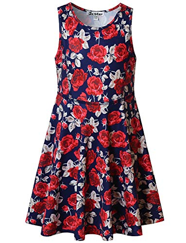 Little Girls Dresses Floral Summer Vintage Casual Flower Clothes Navy Blue -