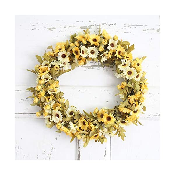 Liveinu Handmade Daisy Floral Artificial Simulation Peony Flowers Garland Wreath Wedding Table Centerpieces for Home Party Decor 11.7 Inch Yellow Door Wreath