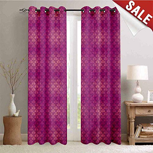 Victorian, Customized Curtains, Antique Style Scroll Motifs Flowers Pink Shades Classical Pattern, Window Curtain Drape, W108 x L96 Inch Magenta Peach and Purple