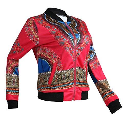 Kulywon Women African Print Long Sleeve Dashiki Short Jacket (L, Hot Pink) by Kulywon (Image #4)