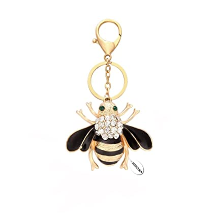 Amazon.com   MANZHEN Natural Insect Crystal Rhinestone Honeybee Keychain  Bumble Bee Keyring (Gold)   Office Products 48acc50bb7
