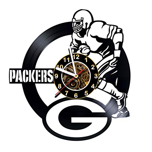 Green Bay Packers - Handmade Vinyl Records Wall Clock - Original Present for Fans - Art Room Decor Handmade Decoration Party Supplies Theme Birthday Gift - Vintage and Modern Style -