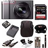 Panasonic Lumix DMC-ZS100 Digital Camera (Silver) w/ZS60 & ZS100 Travel Bundle & 64GB Accessory Bundle