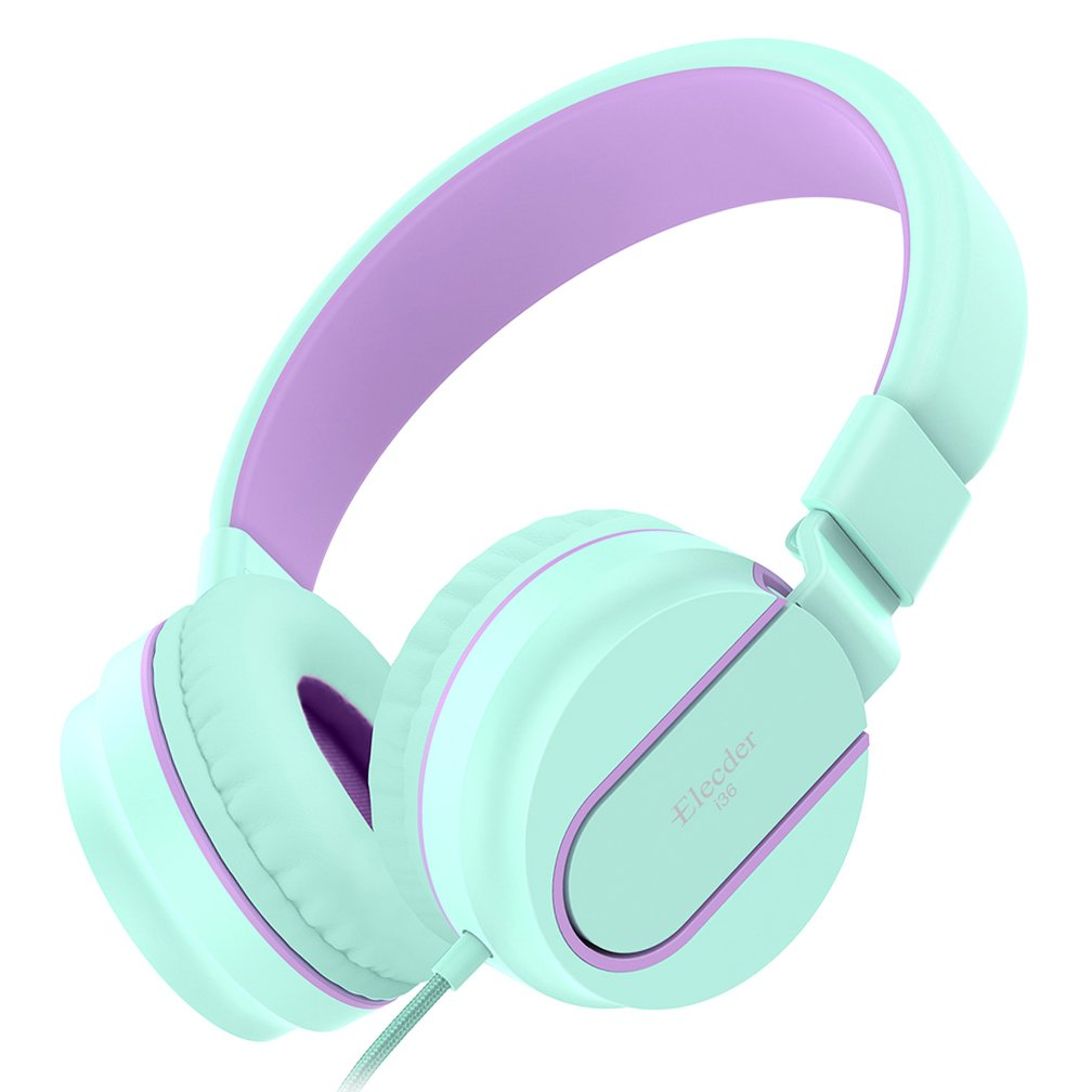 Elecder i36 Kids Headphones for Children, Girls, Boys, Teens, Adults, Foldable Adjustable Over Ear Headsets with 3.5mm Jack for iPad Cellphones Computer MP3/4 Kindle Airplane School (Green/Purple)
