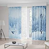 TecBillion Decor Collection,Winter,for Bedroom Living Dining Room Kids Youth Room,Winter Trees in Wonderland Theme Christmas New Year Scenery Freezing ICY Weather Decorative,141Wx94L Inches