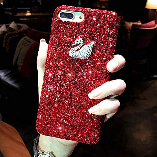 1 piece Kerzzil Diamond Swan Back Cover Case For iPhone 7 8 6s Plus Fashion Hard Bling Glitter Flash Powder Cases For iPhone X 6s 7