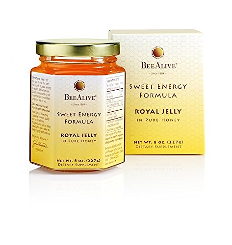 BeeAlive - Fresh Royal Jelly Sweet Energy Formula - Non Freeze Dried Royal Jelly in Pure Honey - Gluten Free & Vegetarian - 8 Ounces