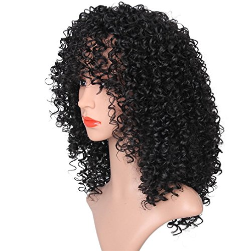 AMA(TM) Synthetic Afro Curly Hair Wigs for Black Woman Short Kinky Hair Jet Black Heat Resistance Fiber Human Hair (Black) by AMA(TM) (Image #2)