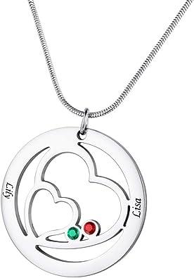 Personnalisé Tout Nom Collier cœur argent 925 collier personnalisé Cadeaux de Noël