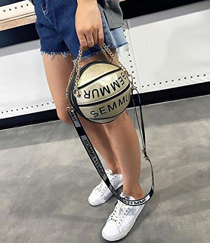 Handbags Women Tote Spherical Alphabet Qiulv Basketball Shoulder Shape Crossbody Gold Satchels Messenger Round Bag Chain Small pwdUdv8nq