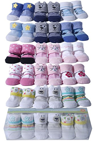Newborn Baby 3Pairs Booties Socks Gift set (Boys Agryle Dog Star Design) by growbabygrow