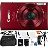 Canon PowerShot ELPH 190 IS Digital Camera (Red) - International Version (No Warranty) 32GB Bundle 19PC Accessory Kit Which Includes Two Replacement NB-11L Batteries, Full Size 57 Tripod, MORE
