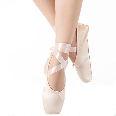 Skyrocket para niña y para Mujer, Zapatillas de Ballet Rosas satinados de Punta, con