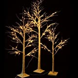 Set of 3 Rustic Christmas Pre Lit Birch Trees LED Lights 4 Foot, 5 Foot, 6 Foot