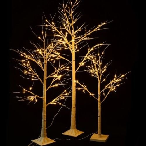 Set of 3 Rustic Christmas Pre Lit Birch Trees LED Lights 4 Foot, 5 Foot, 6 Foot by Home Improvements Holiday
