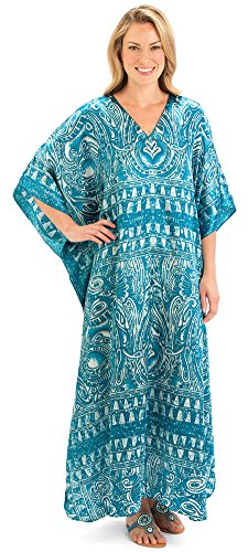 Collections Etc Geometric V Neck Turquoise Caftan Misses Turquoise Onesize