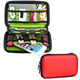 Honeystore Small Storage Case Electronics Travel Organizer Bag Digital Gadget Case USB Flash Drives Case Organizer Bag for for Phone, Various USB, SD Card, Cables, Charger, Earphone and More Red