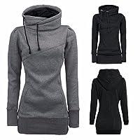 Women Plus Size Loose Long Hoodie Solid Funnel Neck Long Sleeve Sport Sweatshirt