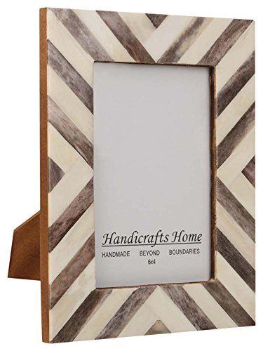 Picture Frames Photo Frame Chevron Herringbone Vintage Wooden Handmade Naturals Bone Classic Size 4x6 Inch - Pictures Vintage Men