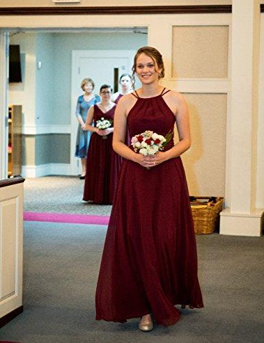 Hochzeit Kleider Neckholder Falten Königsblau Rückenfrei Ballkleider Linie Chiffon Brautjungfernkleider Abendkleider Abschlussball Lang A vzwZq