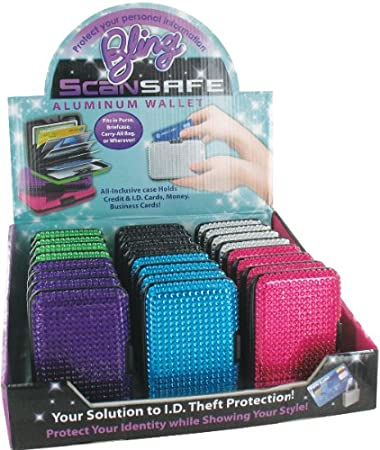 85e5c3e8a060 Amazon.com: Bling! Scan Safe Aluminum Wallet 24-Piece Display: Beauty