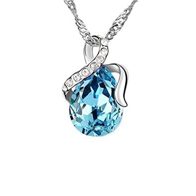 for aqua crystal necklace marine rarelove women aquamarine birth pendant teardrop dp
