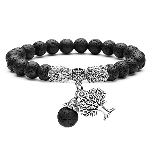 Precious Essentials Aromatherapy Soak - Jovivi 8MM Lava Rock Stone Diffuser Essential Oil Natural Gemstone Healing Crystal Tree of Life Lucky Charm Stretch Bracelet