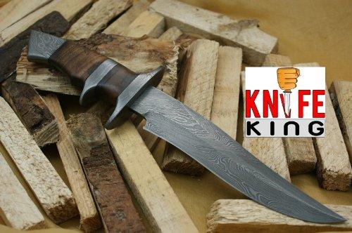 "MASSIVE SALE"" Knife King Custom Damascus Handmade Hunting Knife. With Leather Sheath. Top Quality, Outdoor Stuffs"