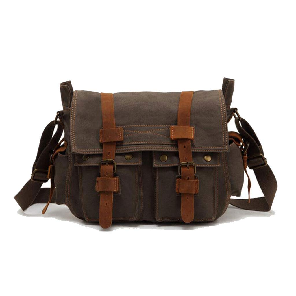 color : Khaki, Size : One size Men Simple Shoulder Messenger Bag Retro Zipper Outdoor Canvas 14.174.7211.02IN(LWH